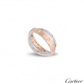 Cartier Rose & White Gold Half Diamond Love Ring Size 51 B4094300